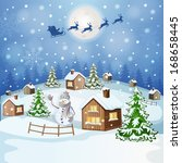 christmas illustration with... | Shutterstock . vector #168658445