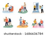 volunteers during the covid 19... | Shutterstock .eps vector #1686636784