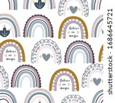 seamless pattern with rainbows... | Shutterstock .eps vector #1686645721