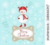 a cute snowgirl christmas card | Shutterstock .eps vector #168666347