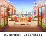 panorama paris street with open ... | Shutterstock .eps vector #1686706561