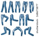 mens jeans in different poses... | Shutterstock . vector #168673877
