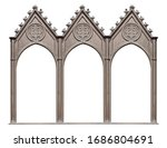 Small photo of Triple silver gothic frame (triptych) for paintings, mirrors or photos isolated on white background. Design element with clipping path