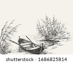 empty boat on shore on the lake ... | Shutterstock .eps vector #1686825814