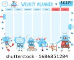 weekly planner with funny... | Shutterstock .eps vector #1686851284