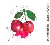 two red cherries are splashed... | Shutterstock . vector #1686876484