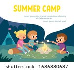 group of kids sitting by... | Shutterstock .eps vector #1686880687