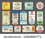 baggage retro tags. traveling... | Shutterstock .eps vector #1686880771