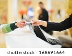 Stock photo at hotel reception 168691664