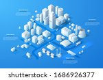 isometric map or scheme of city ... | Shutterstock .eps vector #1686926377