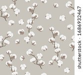 seamless pattern with cotton... | Shutterstock . vector #1686932467