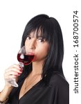 woman with red wine | Shutterstock . vector #168700574