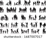 family of silhouettes.... | Shutterstock .eps vector #1687007017