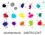 color ink splashes. grunge... | Shutterstock .eps vector #1687011247