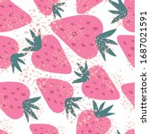 doodle strawberry seamless... | Shutterstock .eps vector #1687021591