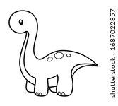 cute long neck dinosaur... | Shutterstock .eps vector #1687022857
