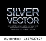 vector silver font. 3d metallic ... | Shutterstock .eps vector #1687027627