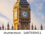 Big Ben Clock At Colorful Blue...