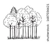 fantasy trees for coloring book....   Shutterstock .eps vector #1687036621