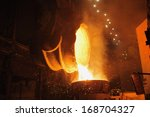 molten steel pouring.  | Shutterstock . vector #168704327