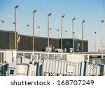 airport scene with jet bridge...