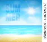 hello summer. tropical beach... | Shutterstock .eps vector #1687128847