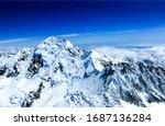 Winter mountain peak snow view. Snowy winter mountain peak snow. Winter mountain peak snow. Snow covered winter mountain peak landscape