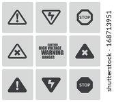 vector black danger icons set...   Shutterstock .eps vector #168713951
