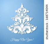 white paper christmas tree on a ... | Shutterstock .eps vector #168714044
