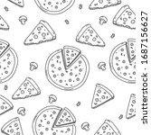 seamless pizza pattern in cute...   Shutterstock .eps vector #1687156627
