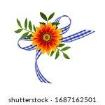 Orange Daisy Flower With Green...