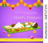 illustration of Happy Pongal greeting background - stock vector