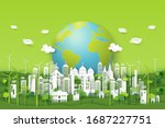 green eco city on natural... | Shutterstock .eps vector #1687227751
