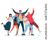 a group of young people posing...   Shutterstock .eps vector #1687276441