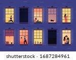 Neighbors In Apartment Windows. ...