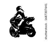 motorbike rider  read view.... | Shutterstock .eps vector #1687307641