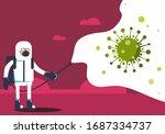 a man in hazmat suit spraying...   Shutterstock .eps vector #1687334737