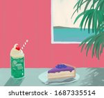 cute painting of ice cream... | Shutterstock . vector #1687335514