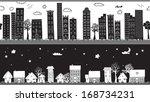 whimsical seamless borders...   Shutterstock .eps vector #168734231