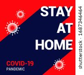 stay at home poster. covid 19... | Shutterstock .eps vector #1687346464