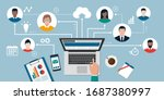 People with different skills connecting together online and working on the same project, remote working and freelancing concept - stock vector