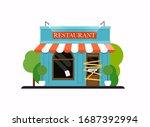 restaurant  is closed bankrupt. ... | Shutterstock .eps vector #1687392994