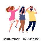scared people. man woman scream ... | Shutterstock .eps vector #1687395154