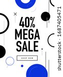 40  off mega sale flyer design. ... | Shutterstock .eps vector #1687405471