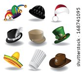 Hat collection 2. A collection of fun hats. EPS 10 vector, grouped for easy editing. No open shapes or paths.