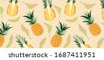 pineapples and leaves on yellow ... | Shutterstock .eps vector #1687411951