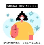 social distancing  keep... | Shutterstock .eps vector #1687416211