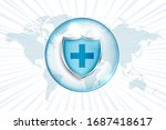 medical protection shield with... | Shutterstock .eps vector #1687418617
