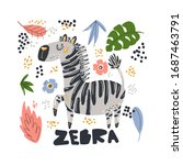 cute zebra flat hand drawn... | Shutterstock .eps vector #1687463791