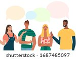 group of people have a... | Shutterstock .eps vector #1687485097